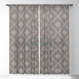 Tile Rhombus Checkered Texture Sheer Curtain