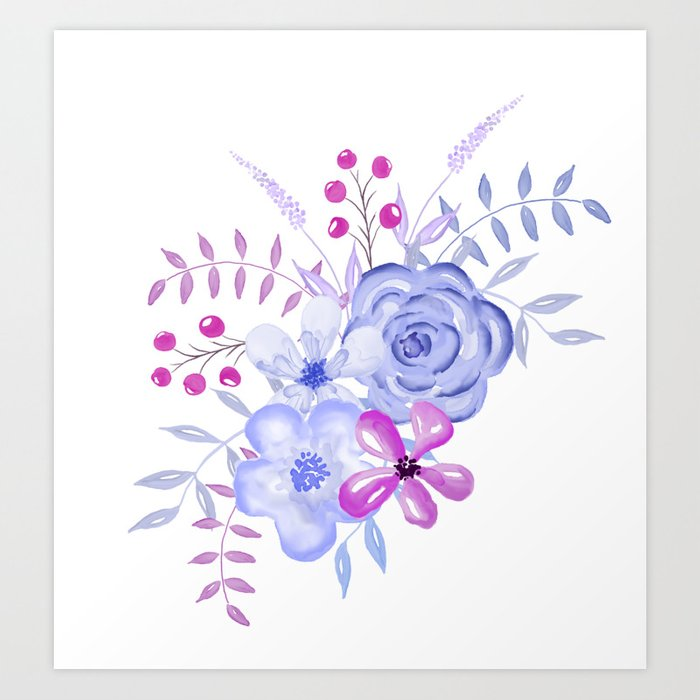Purple And Blue Watercolor Flowers Art Print By Camloft