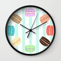 macarons Wall Clocks featuring Macarons by ASHEFACE DESIGNS