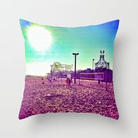 santa monica Throw Pillows featuring Santa Monica by SefoG