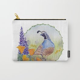 California Quail with Poppies and Lupine Carry-All Pouch