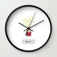 fries Wall Clocks featuring fries ad by skip ad