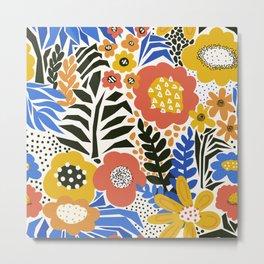 Paper cut Flower Meadow Modern Collage Pattern Metal Print