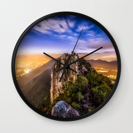 Hong Kong City Night view from Lion Rock hilltop Wall Clock