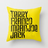 steelers Throw Pillows featuring Terry Franco Mean Joe Jack / Gold by Brian Walker