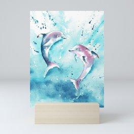 Dolphins at play  Mini Art Print