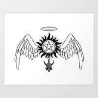 destiel Art Prints featuring Destiel Logo by mistina