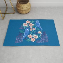 Navy Bird in Rose Bush Rug