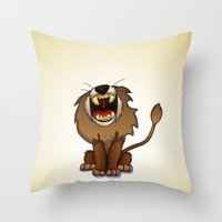 oz Throw Pillows featuring oz-courage by Jovan Dortch