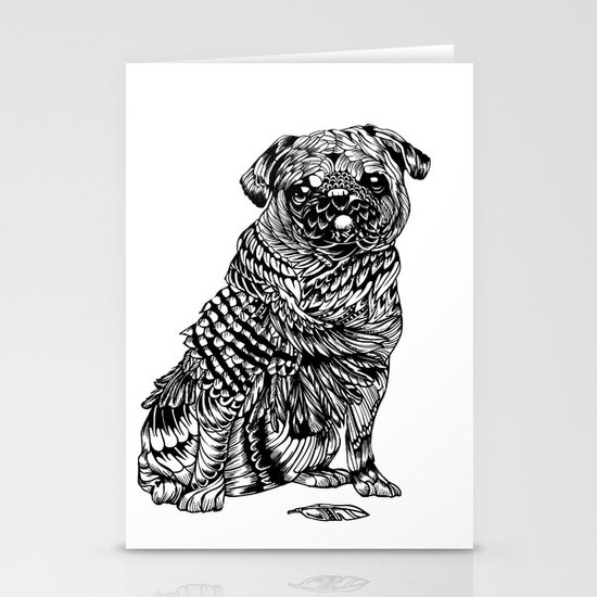 Pug Feather Stationery Cards