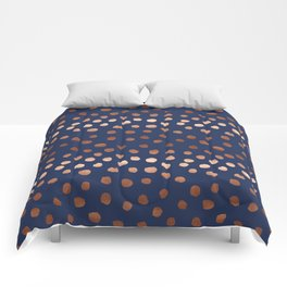 Rose Gold navy polka dot painted metallic pattern basic minimal pattern print Comforters