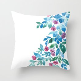 Peonies and blue leaves Throw Pillow