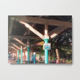 Train Platform, Afternoon Sunlight Metal Print