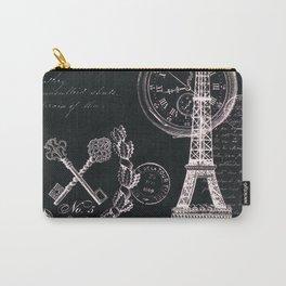 Paris Eiffel Tower French Script Black White Wall Art Home Decor Carry-All Pouch