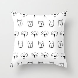 Cats and Dogs Throw Pillow
