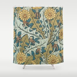 Art Nouveau Dandelion Pattern Shower Curtain