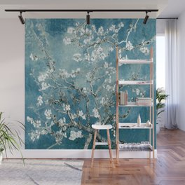 Vincent Van Gogh Almond Blossoms Teal Wall Mural