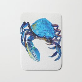 Blue crab illustration, original watercolor, kitchen art Bath Mat