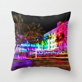 Clevelander Hotel Neon Lights, South Beach Miami Landscape Painting by Jeanpaul Ferro Throw Pillow