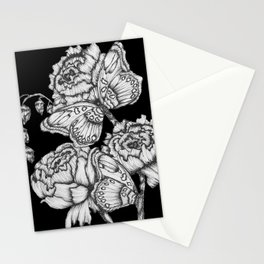 Black Fluttering Ink II Stationery Cards