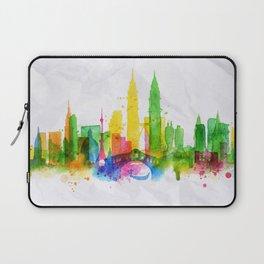 Silhouette overlay city Kuala Lumpur Laptop Sleeve