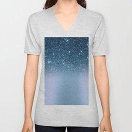 Elegant navy blue teal chic glitter gradient Unisex V-Neck
