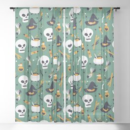 Happy halloween skulls, pots, brooms and witch hats pattern Sheer Curtain
