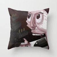 mario kart Throw Pillows featuring Mario Car by Crooked Octopus