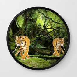Tigers in the Woods Wall Clock