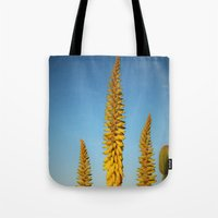 sword Tote Bags featuring Yellow Sword by Mae2Designs
