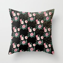 Romantic peony floral and golden confetti design Throw Pillow