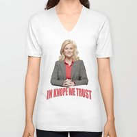 leslie knope V-neck T-shirts featuring In Knope We Trust by Illuminany