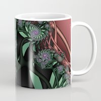 novelty Mugs featuring Lilac Fractal Garden by Moody Muse