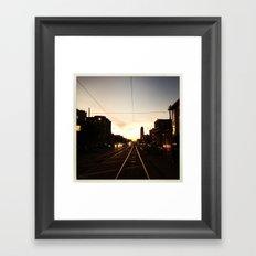San Francisco Muni Njudah Sunset Silhouette  Framed Art Print