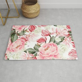 Floral Kingdom Watercolor Painting Pink Red Peony Flowers Painting Green Leaves Floral Design Rug