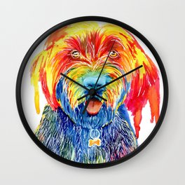 Colorful Tie Dye Wirehaired Pointing Griffon Wall Clock