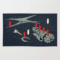 battlestar Area & Throw Rugs featuring You Sunk My Battlestar by Caddywompus