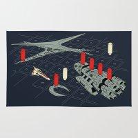 battlestar galactica Area & Throw Rugs featuring You Sunk My Battlestar by Caddywompus