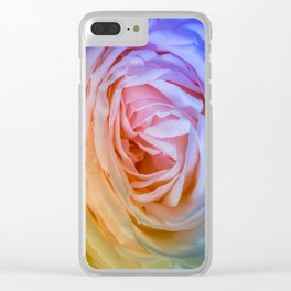 Pink Rose Ruffle Rainbow Clear iPhone Case