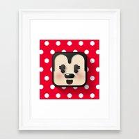 minnie mouse Framed Art Prints featuring minnie mouse cutie by designoMatt