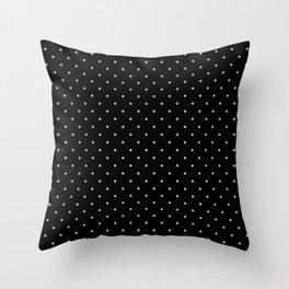 Medium Light Grey on Black Polka Dots Throw Pillow