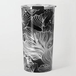 Black and White Shibori Corals Travel Mug