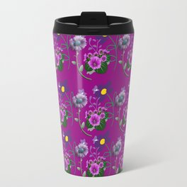 Purple and Blue Floral Pattern Travel Mug