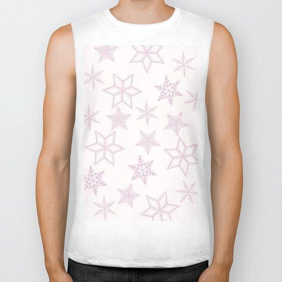Pink Snowflakes On White Background Biker Tank