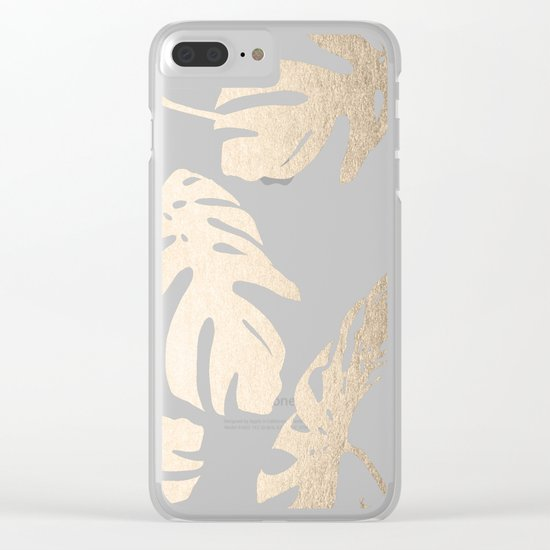 Simply Tropical Palm Leaves in White Gold Sands Clear iPhone Case