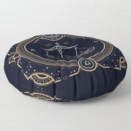 Libra Zodiac Golden White on Black Background Floor Pillow