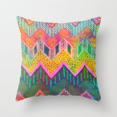 Tribal Chevron - Yellow Throw Pillow