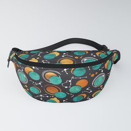 Great Total Solar Eclipse II // turquoise green moons Fanny Pack
