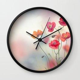 Red Poppy Flowers in the garden Wall Clock