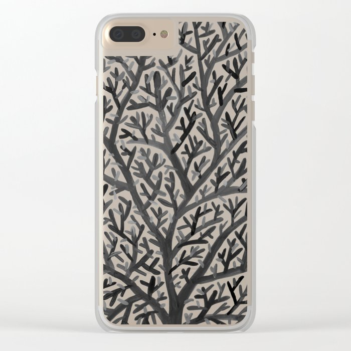Black Fan Coral Clear iPhone Case